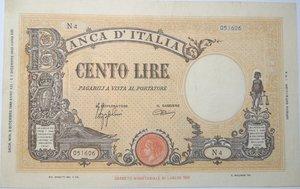 obverse: Banconote. Regno D Italia. 100 lire. Grande B. (Fascio). Dec. Min. 9-12-1942.