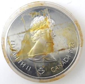 obverse: Canada.Elisabetta II.10 Dollari 1973. Olimpiadi di Montreal 1976. Veduta di Montreal. AG 925.