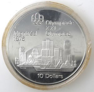 reverse: Canada.Elisabetta II.10 Dollari 1973. Olimpiadi di Montreal 1976. Veduta di Montreal. AG 925.