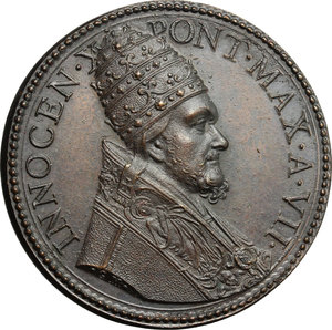 obverse: Innocenzo X (1644-1655), Giovanni Battista Pamphili di Roma. Medaglia A. VII, per l apertura e chiusura della Porta Santa