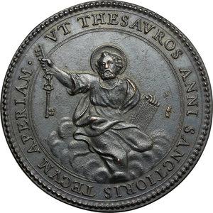 R/ Innocenzo X (1644-1655), Giovanni Battista Pamphili di Roma. Medaglia A. X.  D/ Busto a sinistra con camauro e mozzetta. R/ San Pietro sulle nubi. Mis. 494. Bart. p. 50. Lincoln 1143. Mazio 245. Patr. X / 7. AE.   mm. 37.70 Inc. G. Morone.  Medaglia ibrida, riconio Mazio.  SPL+.