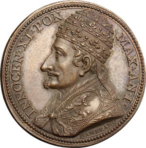 obverse: Innocenzo XI (1676-1689), Benedetto Odescalchi di Como.. Medaglia annuale, A. I