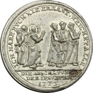 reverse: Clemente XIV (1769-1774), Gian Vincenzo Ganganelli  di Santarcangelo di Romagna. Medaglia per l abolizione dell ordine dei Gesuiti, 1773