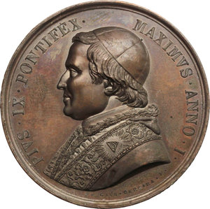 obverse: Pio IX  (1846-1878), Giovanni Mastai Ferretti di Senigallia. Medaglia per il Possesso del Laterano
