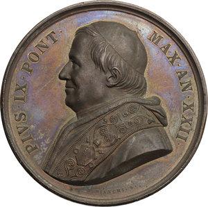 obverse: Pio IX  (1846-1878), Giovanni Mastai Ferretti di Senigallia. Medaglia A. XXII, 1867
