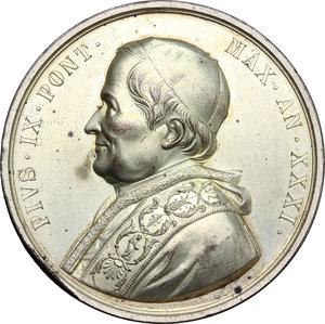 obverse: Pio IX  (1846-1878), Giovanni Mastai Ferretti di Senigallia. Medaglia per la morte del Pontefice