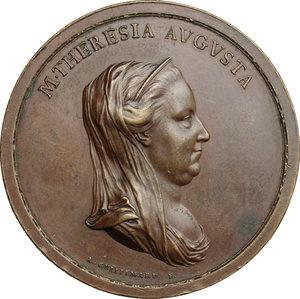 obverse: Maria Teresa d Asburgo (1740-1780), arciduchessa d Austria.. Medaglia 1778 per la sistemazione del Po nel ferrarese