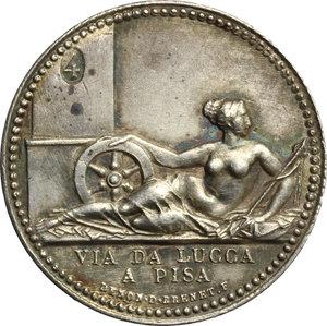reverse: Elisa Bonaparte (1805-1814),  principessa di Lucca e Piombino.. Medaglia per la strada Lucca-Pisa