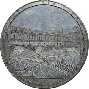 obverse: Medaglia 1821 per la ricostruzione dell antico Ponte in legno sul Fiume Brenta, andato distrutto nell incendio del 1813, realizzata dall Architetto Angelo Casarotto, sui disegni di Andrea Palladio