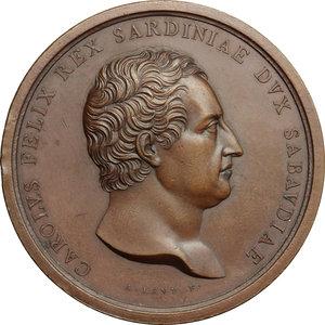 obverse: Carlo Felice di Savoia (1821-1831).. Medaglia per la sistemazione del fiume Isere