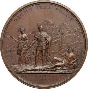 reverse: Carlo Felice di Savoia (1821-1831).. Medaglia per la sistemazione del fiume Isere