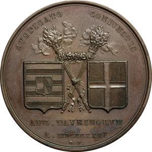 reverse: Ferdinando I d Asburgo (1835-1848),  imperatore d Austria e re d Ungheria.. Medaglia 1831 per le nozze con Marianna Pia di Savoia