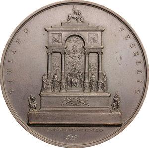 obverse: Tiziano Vecellio (1488-1576), pittore veneziano.. Medaglia per il mausoleo di Tiziano nella chiesa dei Frari in Venezia, 1852