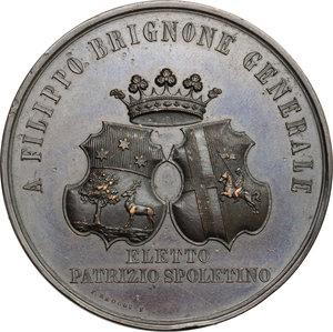 obverse: Filippo Brignone (1812-1877), generale spoletino.. Medaglia