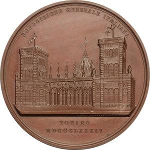 obverse: Esposizione Generale Italiana in Torino.. Medaglia a Camillo Riccio, architetto (1884)
