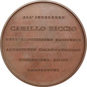reverse: Esposizione Generale Italiana in Torino.. Medaglia a Camillo Riccio, architetto (1884)