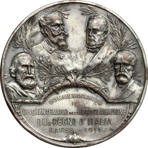 obverse: Medaglia 50° anno della Proclamazione del Regno d Italia. B. Aires 1911