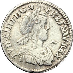 obverse: France.  Louis XIV (1643-1715). 5 sols o 1/12 d ecu, 1658 N (Montpellier)