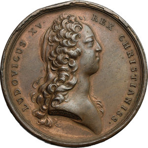 obverse: France.  Louis XV (1715-1774).. Medal 1727, re-establishment of the Cadet Forces