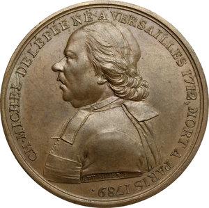 obverse: France.  Charles-Michel de l Épée (1712-1789), philanthropic educator.. Medal for the visit of the Pope Pio VII to the Institution des sourds-mutes of Paris, 1805