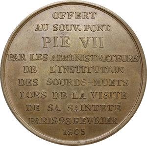 reverse: France.  Charles-Michel de l Épée (1712-1789), philanthropic educator.. Medal for the visit of the Pope Pio VII to the Institution des sourds-mutes of Paris, 1805