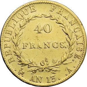reverse: France.  Napoleone Bonaparte (1804-1814). 40 franchi AN 13 A