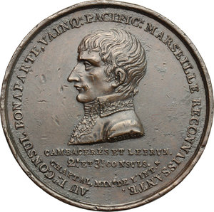 obverse: France.  Napoleon I (1804-1814).. Medal A. X (1802) for the erection of Napoleon Column in Marseille