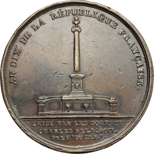 reverse: France.  Napoleon I (1804-1814).. Medal A. X (1802) for the erection of Napoleon Column in Marseille