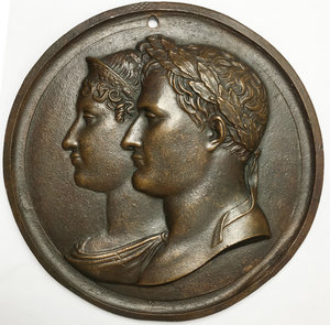obverse: France.  Napoleon I (1804-1814).. Large plaque (c.1810) with conjoined busts of Napoleon and the Empress Marie Louise