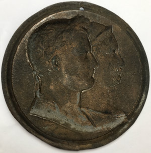 reverse: France.  Napoleon I (1804-1814).. Large plaque (c.1810) with conjoined busts of Napoleon and the Empress Marie Louise