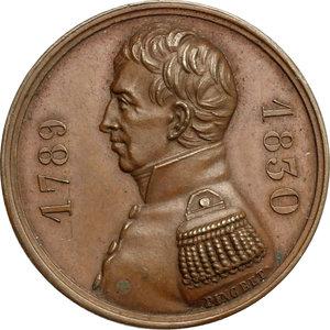 obverse: France.  Gilbert du Motier de La Fayette (1757-1834), aristocrat and military officer.. Medal 25 september 1830. Garde Nationale, Paris