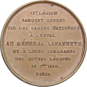 reverse: France.  Gilbert du Motier de La Fayette (1757-1834), aristocrat and military officer.. Medal 25 september 1830. Garde Nationale, Paris
