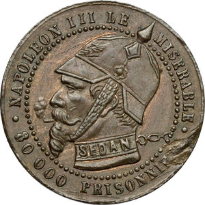 obverse: France.  Le Gouvernement de la Défense Nationale (1870-1871). . Satiric medal for the capture of Napoléon III at the Battle of Sedan