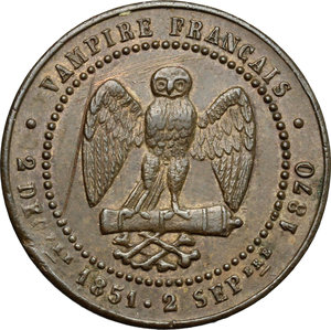 reverse: France.  Le Gouvernement de la Défense Nationale (1870-1871). . Satiric medal for the capture of Napoléon III at the Battle of Sedan