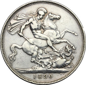 reverse: Great Britain.  Victoria (1837-1901).. Crown 1890