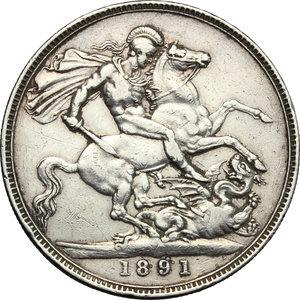 reverse: Great Britain.  Victoria (1837-1901).. Crown 1891
