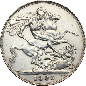 reverse: Great Britain.  Victoria (1837-1901).. Crown, 1895, LIX
