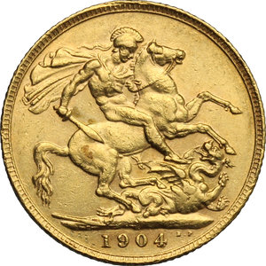 reverse: Great Britain.  Edward VII (1841-1910).. Sovereign 1904