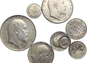 Great Britain.  Edward VII (1841-1910).. Series of 8 values 1902:  half crown, florin, schilling, 6, 4, 3, 2, 1 pence