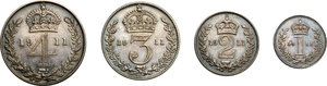 reverse: Great Britain.  George V (1910-1936).. Series of 4 values 1911: 4, 3, 2, 1 pence