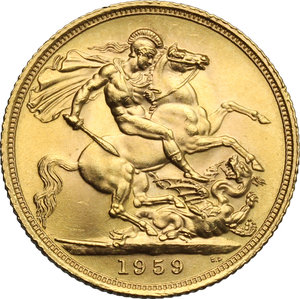 reverse: Great Britain.  Elizabeth II (1952 -). Sovereign 1959