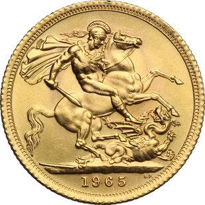 reverse: Great Britain.  Elizabeth II (1952 -). Sovereign 1965