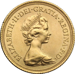 obverse: Great Britain.  Elizabeth II (1952 -). Sovereign 1979