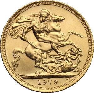 reverse: Great Britain.  Elizabeth II (1952 -). Sovereign 1979