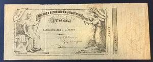 obverse: Alleanza Repubblicana Universale Italia. Sottoscrzione di un franco , Giuseppe Mazzini