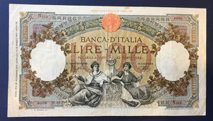 obverse: Cartamoneta. Regno d Italia. 1 000 lire