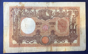 reverse: Regno d Italia. 1 000 lire \grande M\