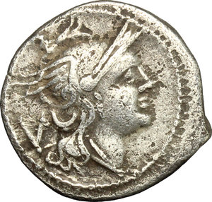 obverse: Anonymous. AR Quinarius, from 211 BC