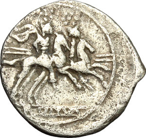 reverse: Anonymous. AR Quinarius, from 211 BC