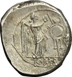 reverse: Anonymous. AR Victoriatus, after 218 BC